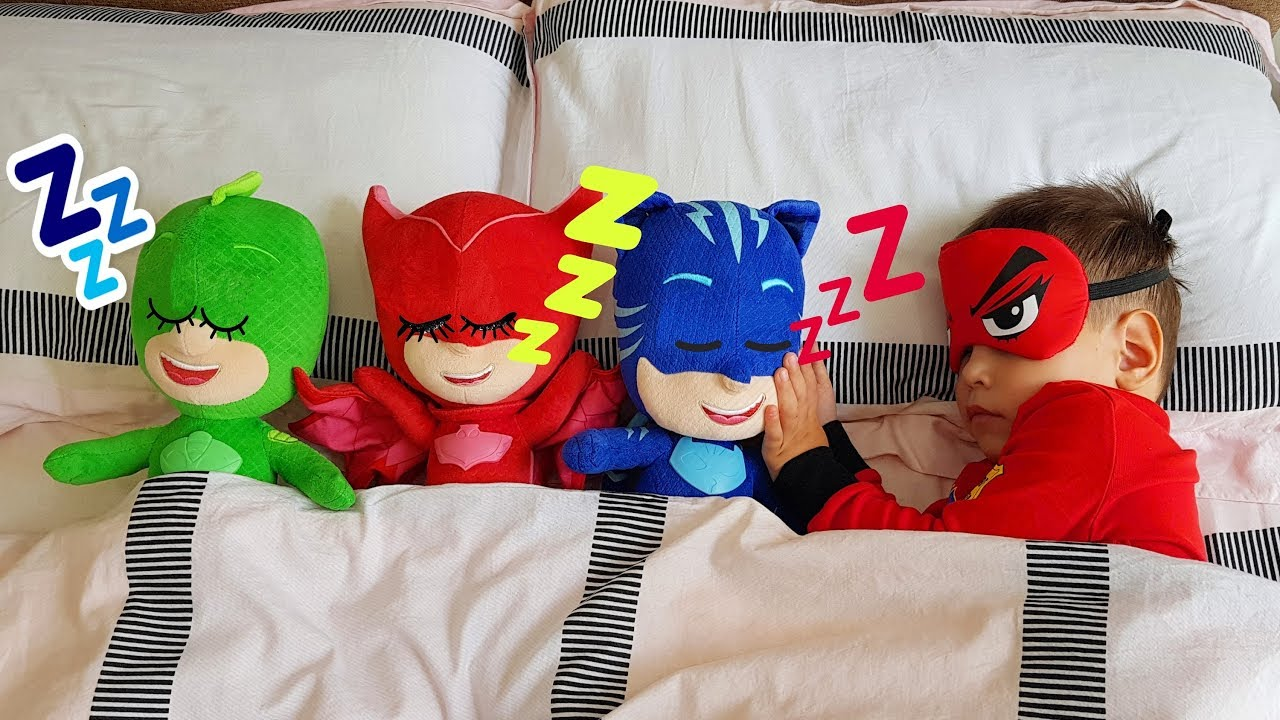 pj masks baby morning routine with toys are you sleeping brother john nursery rhyme song