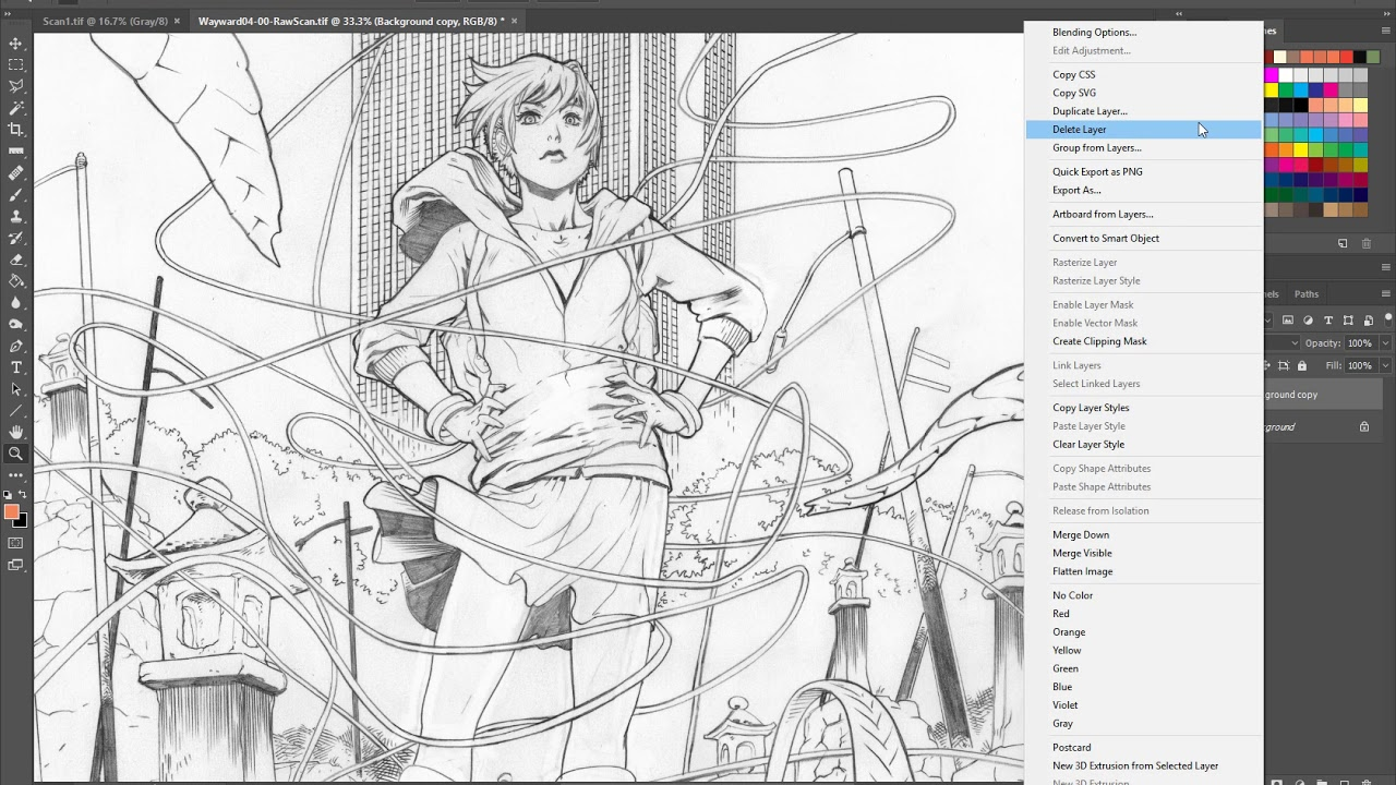 Scanning and adjusting pencil linework before you start coloring painting