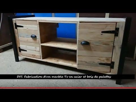 Diy fabrication d 39 un meuble tv en bois de palettes et Diy meuble tv