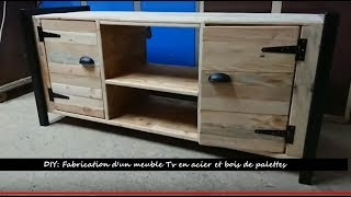 diy fabrication d un meuble tv en bois de palettes et acier