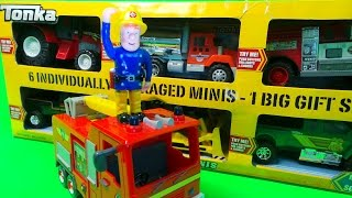 FIREMAN SAM & THE TOP 6 TONKA TOUGHEST MINIS TOYS INC., FIRE ENGINE AND WATER TANKER UNBOXING