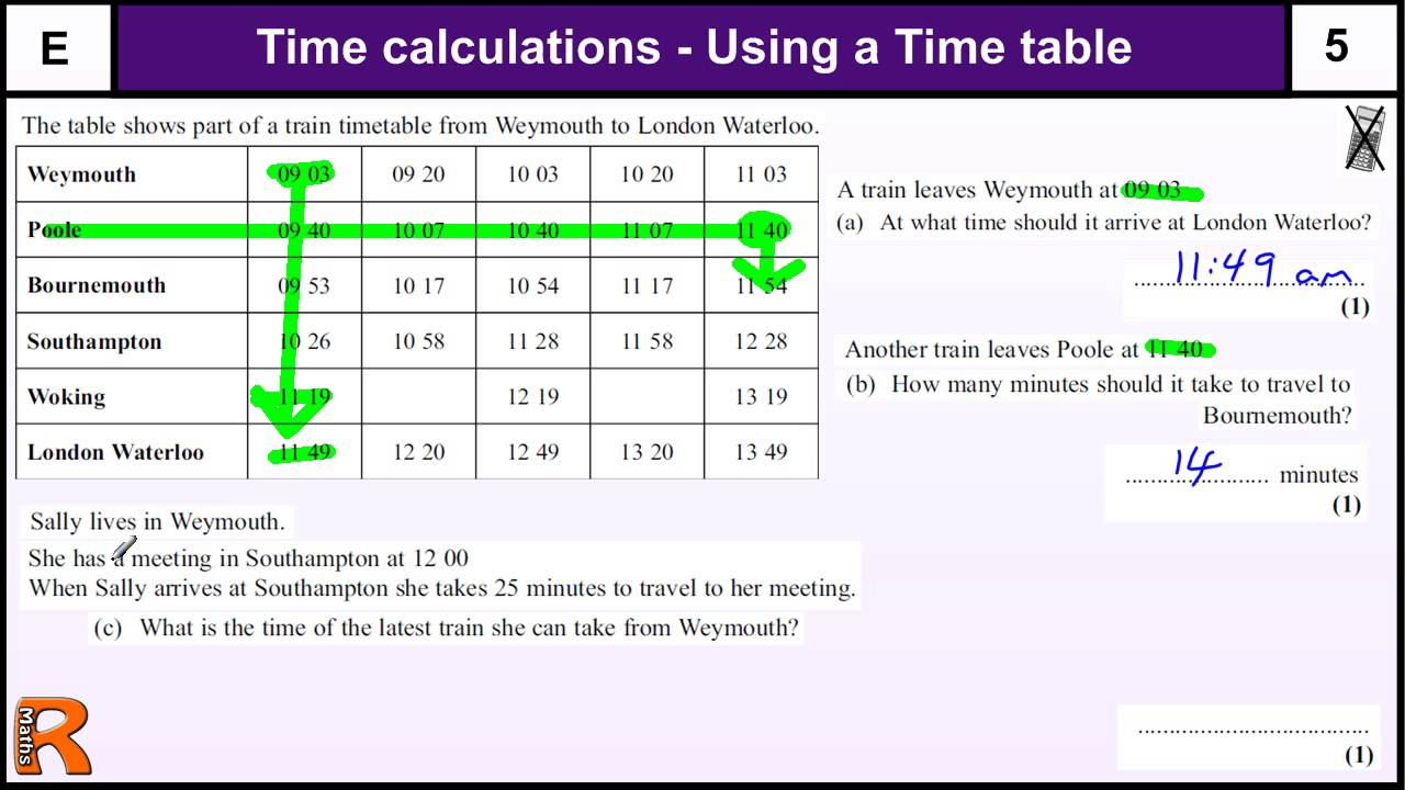 Time Calculations And Timetables Gcse Maths Foundation Revision Exam