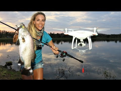 Girl DRONE FISHING for BARRAMUNDI! ( It Works! )