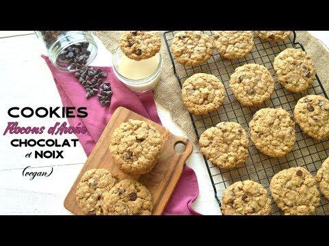 vegan- -cookies-aux-flocons-d'avoine,-chocolat-et-noix---oatmeal-cookies-[cc]