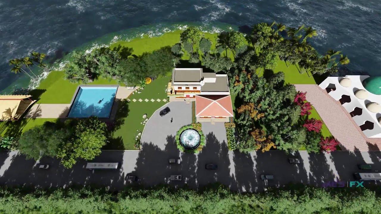 bungalow sea beach architecture and landscape design animation