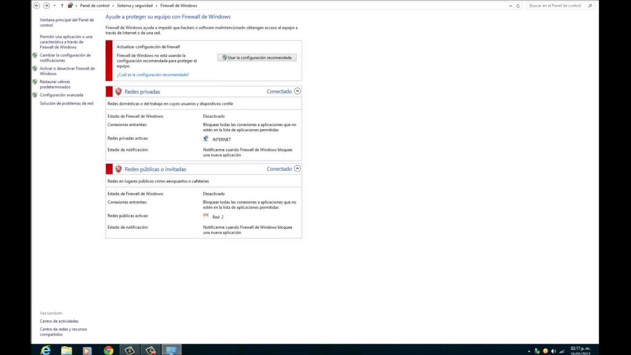 desactivar firewall windows 8