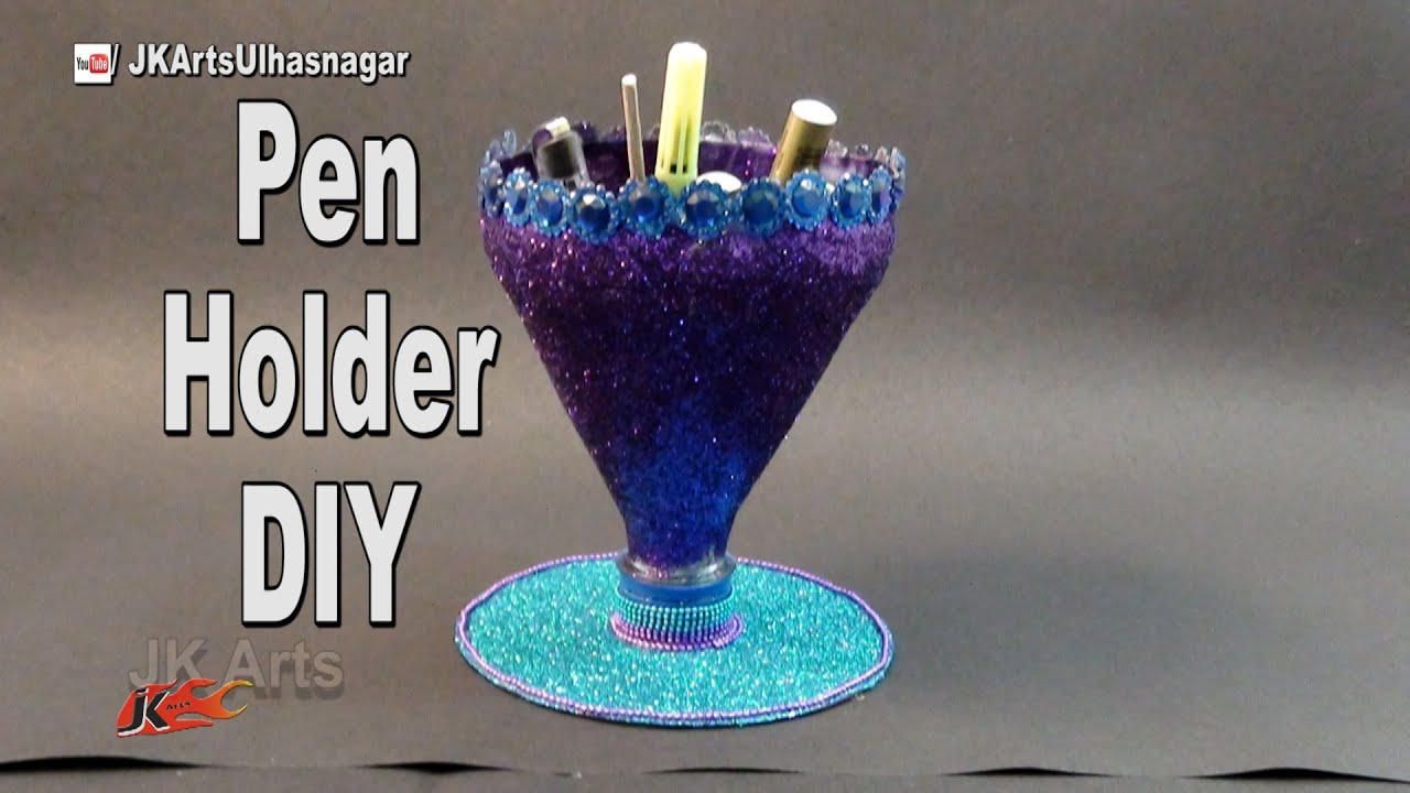Easy pen stand with waste bottle and dvd how to make for Model on best out of waste