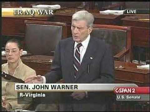 John Warner on the Senate Iraq resolution debate