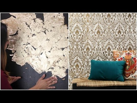 How to Stencil a Gold Leaf Damask Design Accent Wall for Boho Chic DIY  Decorating