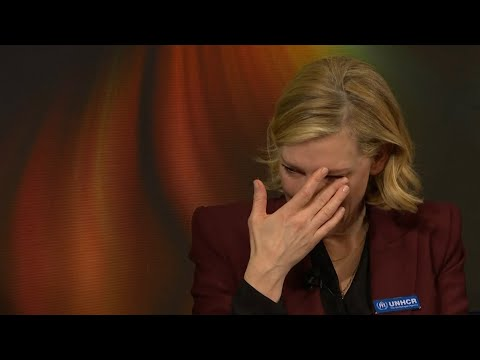 Cate Blanchett cries while recounting story of Syrian refugees