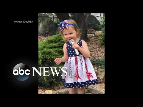 Video of a 2-year-old's rendition of the national anthem went viral