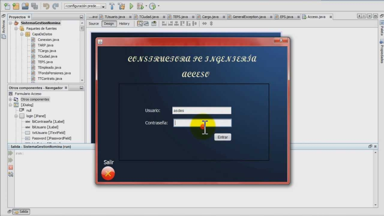 tutorial programaci n pantalla de acceso login en java. Black Bedroom Furniture Sets. Home Design Ideas