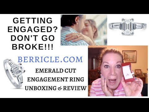 "Berricle Emerald Cut ""Diamond"" Engagement Ring Unboxing, Review 