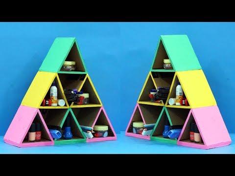 Pyramid Shaped Cardboard Organiser | Easy Best Out of Waste Cardboard Craft | StylEnrich