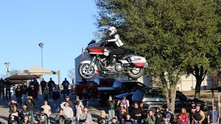 INSANE JUMP On Harley Davidson Road Glide Ramp To Ramp On HD Fully Dressed Bagger Cole Freeman 2017