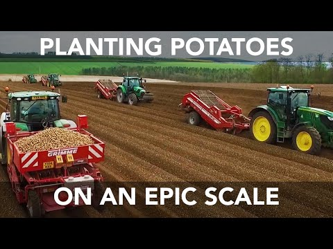 Six John Deere Tractors - Planting Potatoes