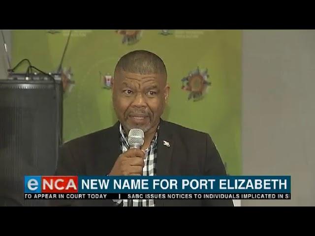New name for Port Elizabeth
