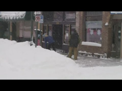Downtown Flagstaff deserted as historic storm hits Arizona
