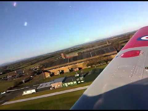 Scottish Aviation Bulldog Takeoff from Kirkbride Airfield