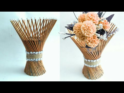 Newspaper flower vase | flower vase making | newspaper craft | HMA##170