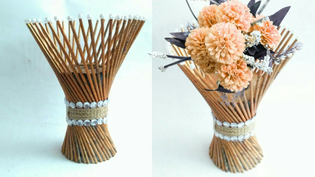 Newspaper flower vase | flower vase making | newspaper craft | HMA##170 & Newspaper flower vase | flower vase making | newspaper craft | HMA ...