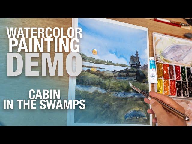 Demo Aquarelle - Illustration un chalet dans les marais
