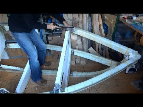 Experimental Boat Building Part 4, Fiberglassing the Frame with woven roving and resin
