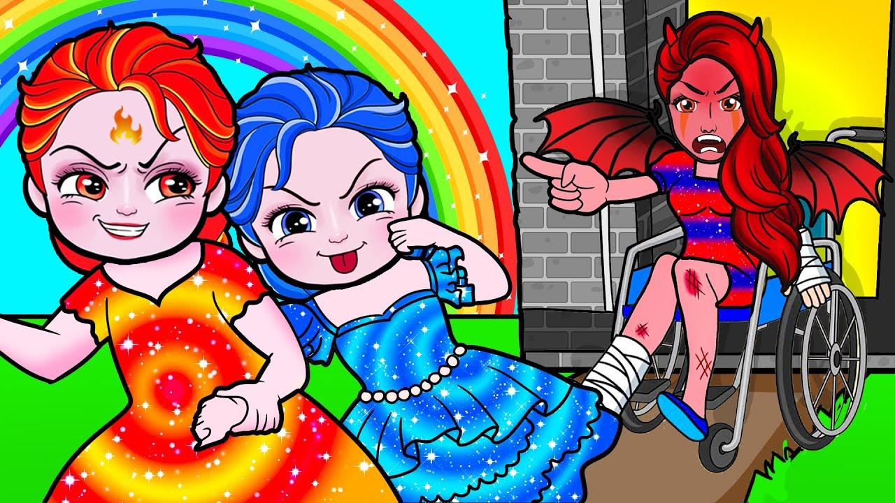 Paper Dolls Dress Up - Poor Vampire Mother vs Naughty Elsa Fire Dress - Barbie Story & Crafts