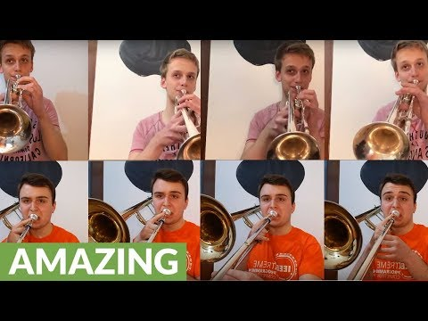 Multi-track cover of James Bond theme with trumpets & trombones
