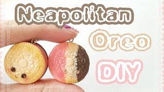 Neapolitan Mini Oreo Cookie Charm | Polymer Clay Tutorial ♡ Berrywhimsy