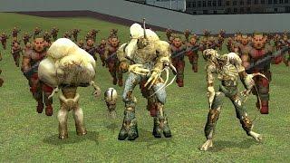 The Flood vs Zombieman Army | Halo vs. classic Doom in Garry's Mod