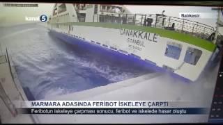 Marmara Adasında Feribot İskeleye Çarptı
