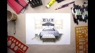 Скетч спальни. Видео урок по созданию скетча спальни.