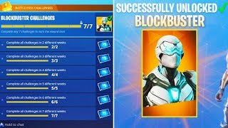 "i completed EVERY ""BLOCKBUSTER"" Challenge in Fortnite! - FREE BLOCKBUSTER SKIN UNLOCKED SEASON 4"