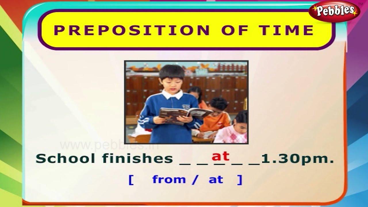 medium resolution of Preposition of Time   English Grammar Exercises For Kids   English Grammar  For Children - YouTube