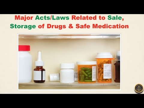 Major Acts/Laws Related to Sale, Storage of Drugs & Safe Med