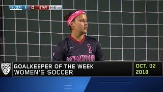 Stanford's Alison Jahansouz collects Pac-12 Women's Soccer Goalkeep...