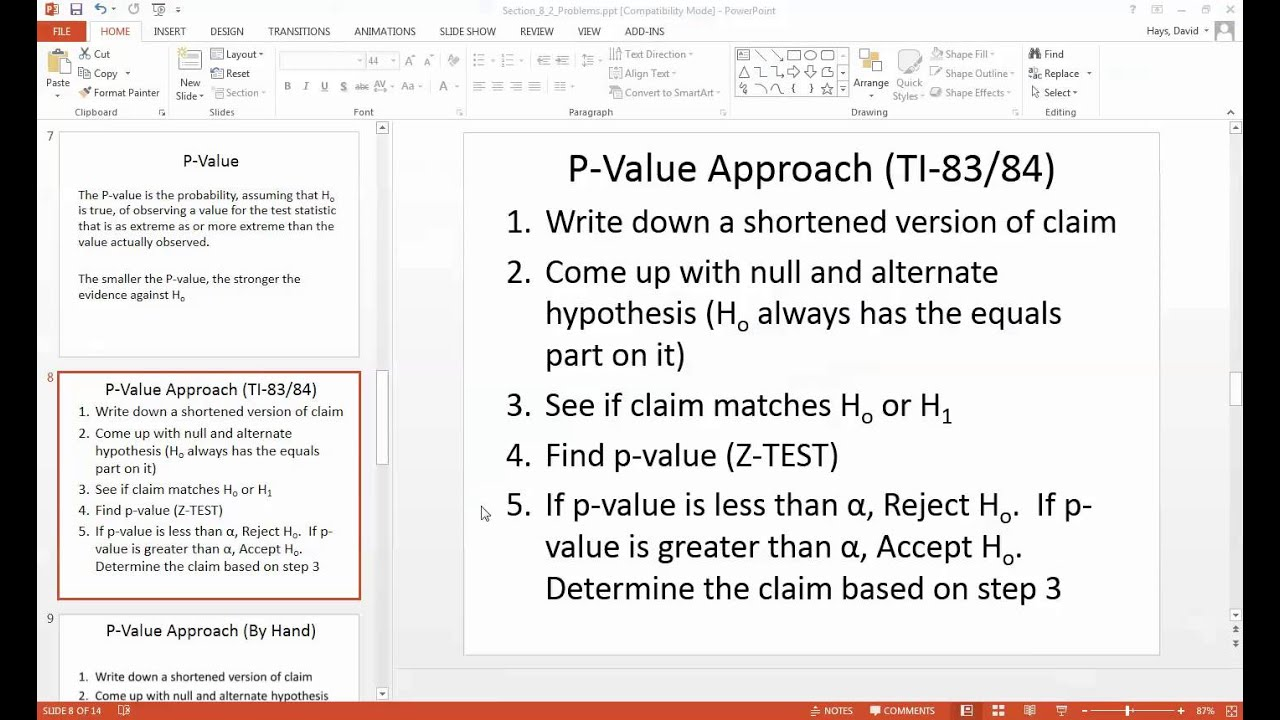 Claims Population Mean Standard Deviation Known P Value Approach Ti84 How  To Calculate