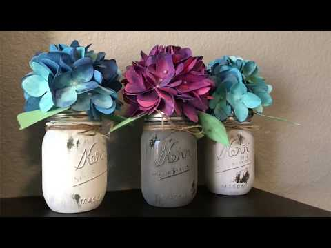 Paper Hydrangea Bouquets in Mason Jars - Silhouette Cameo, Cricut Explore, Brother Scan and Cut