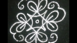 4 by 4 dots easy rangoli for beginners