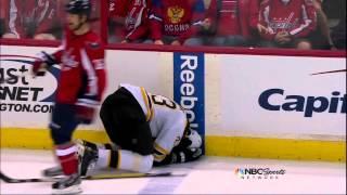 Zdeno Chara dive on Hendricks hit? Boston Bruins vs Washington Capitals 4/16/12 NHL Hockey
