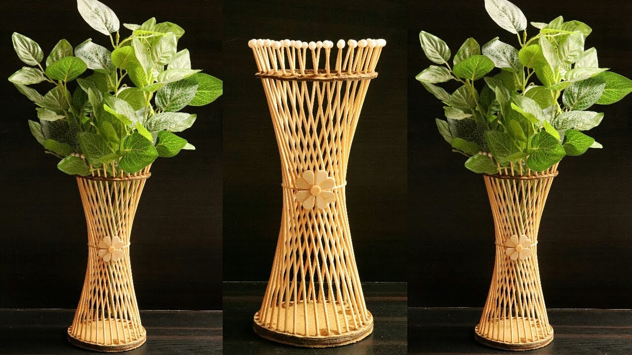 How To Make Flower Vase With Bamboo Chops Sticks Diy Flower Pot Bamboo Sticks Flower Pot Design Youtube