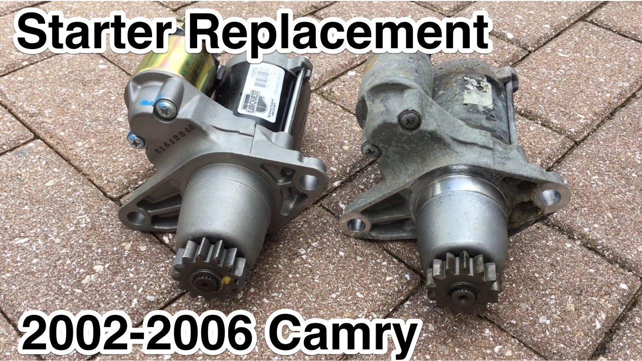 how to replace starter on toyota camry 4 cylinders engine 2002 2003 2004 2005 2006  [ 1280 x 720 Pixel ]