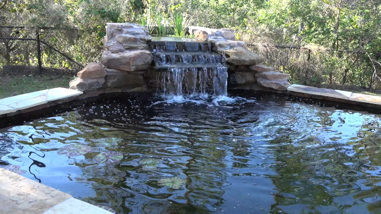 Koi pond waterfall 5 youtube for Tiered pond waterfall