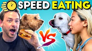 Dogs And Humans SPEED EATING CHALLENGE! | People Vs. Dogs Vs. Food