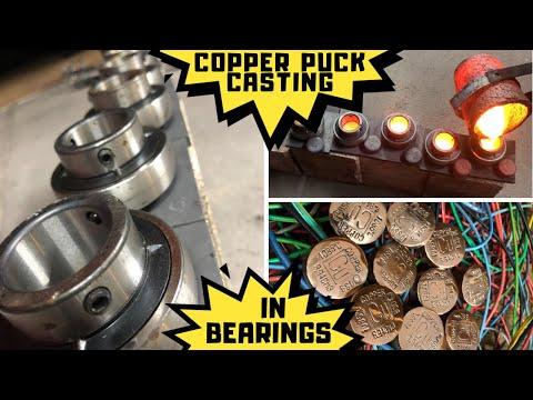 Copper Puck Casting In Steel Bearings - Molten Copper - 1150°C