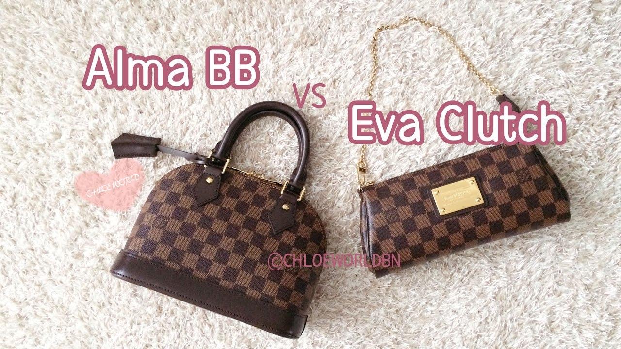 3bb5de3b33f8 Louis Vuitton Alma BB VS Eva Clutch in Damier Ebene