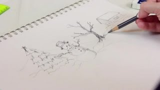 How to Draw a Simple Christmas Scene : Decorating for Christmas
