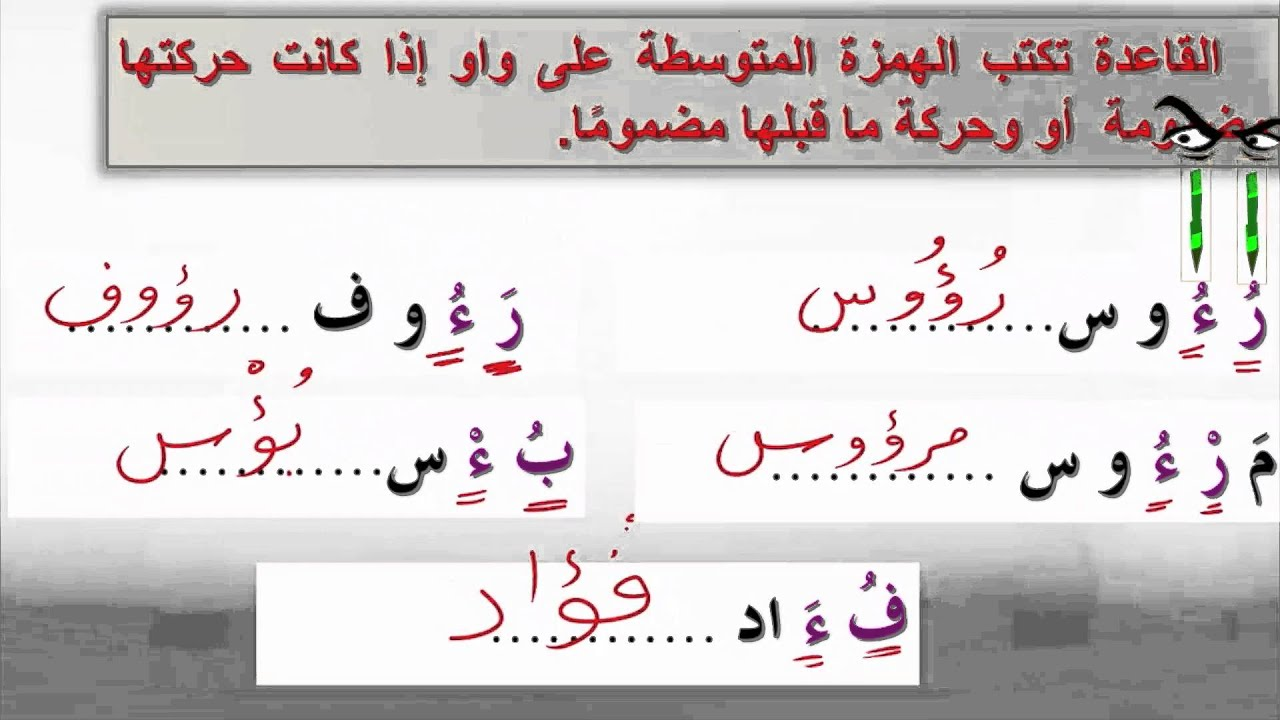 اللغة العربية إثرائي صف 9 الهمزة المتوسطة على الواو Youtube