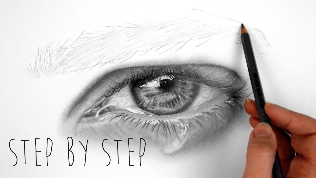 Step by Step | How to shade a realistic eye with teardrop ...